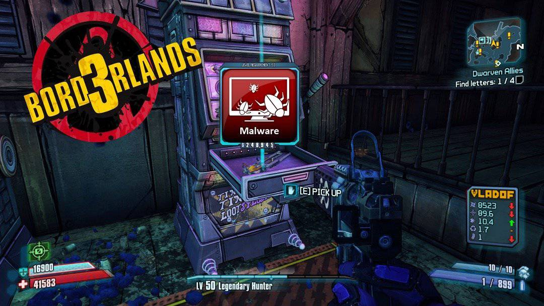 A Screenshot Of Borderlands 2 loot box with malware on it