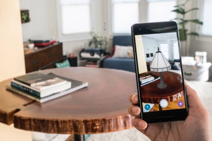 A smartphone showcasing AR tech