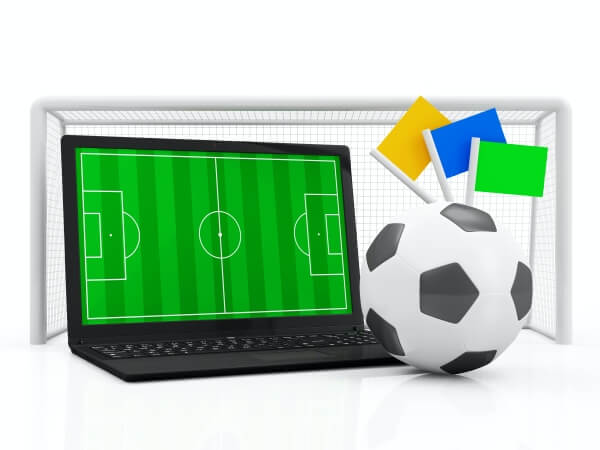 Pc laptop football concept soccer field in modern laptop with soccer ball and gate isolated
